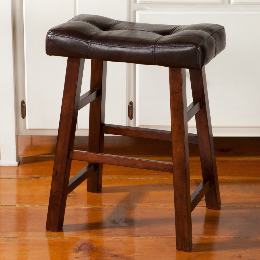 Leather Cherry Wood Bar Stools