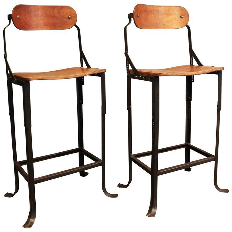 Metal And Wood Adjustable Bar Stools