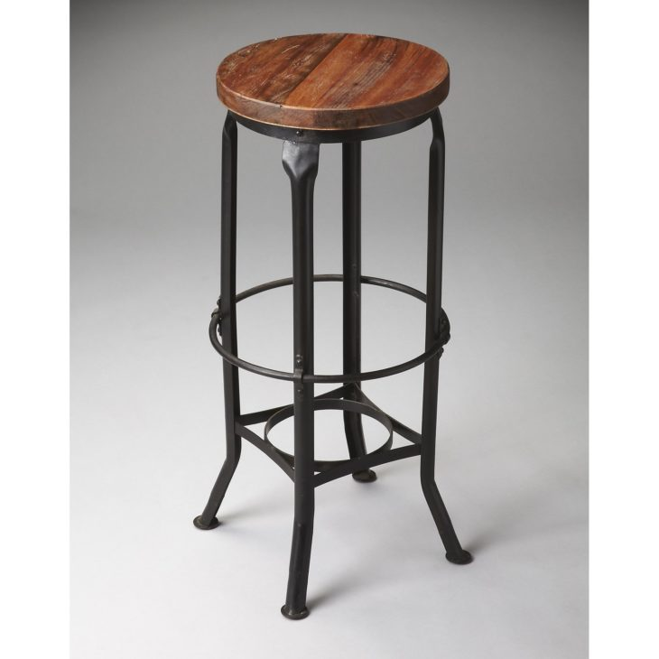 Metal Bar Stool With Wood Seat