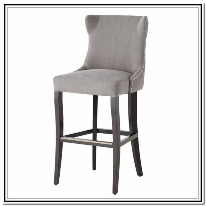 Nailhead Bar Stool Leather