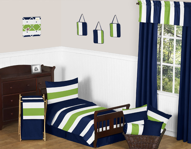 Navy And White Toddler Bedding