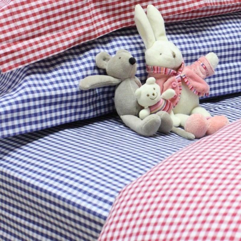 Navy Gingham Toddler Bedding