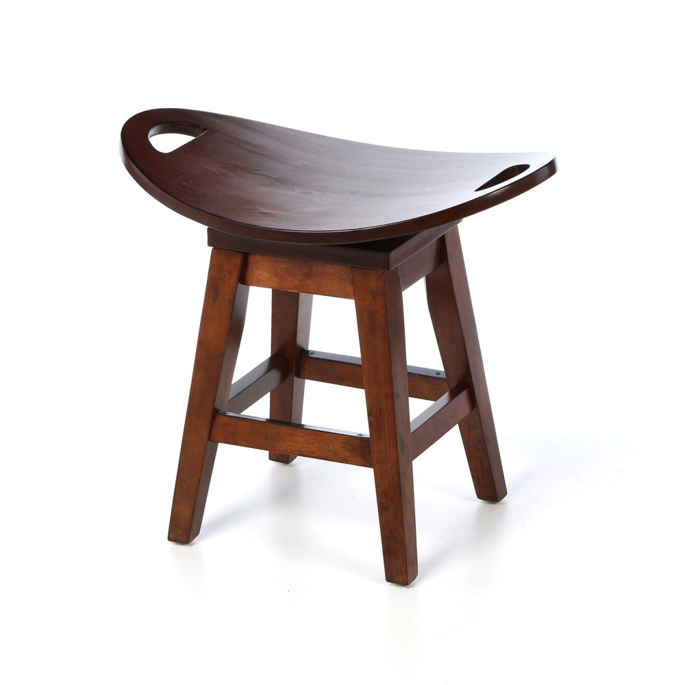 Oak Backless Swivel Bar Stools