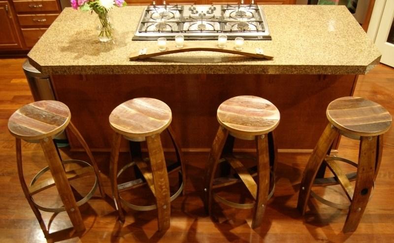 Oak Barrel Bar Stools