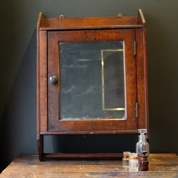 Oak Medicine Cabinet With Mirror