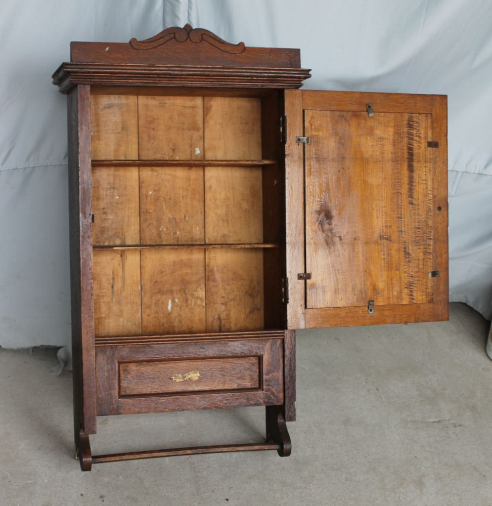 Oak Medicine Cabinet With Towel Bar