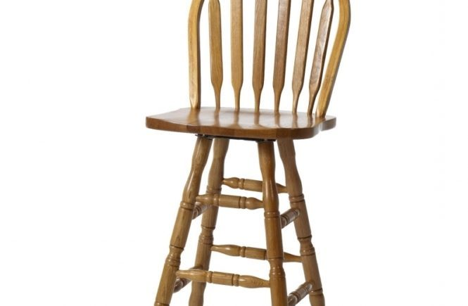 Oak Wood Bar Stools With Backs