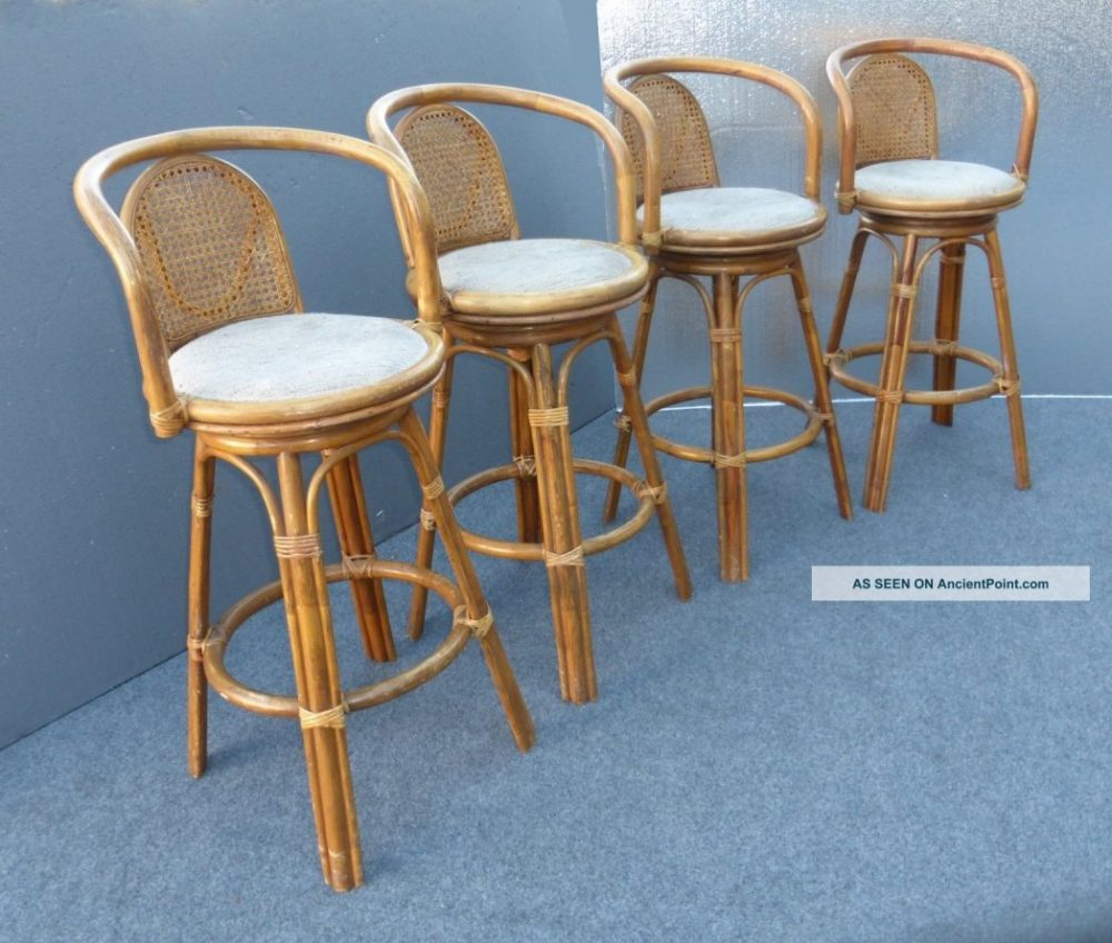 Outdoor Bamboo Bar Stools With Backs