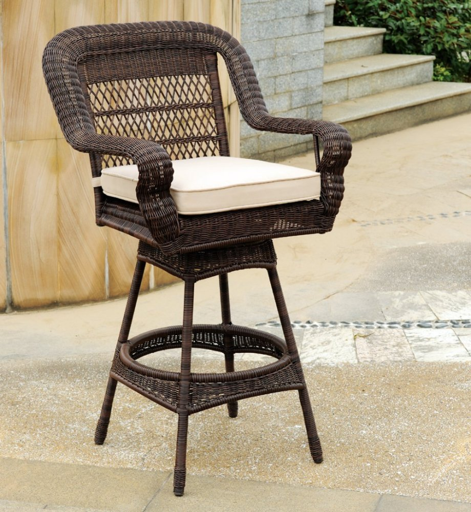 Outdoor Wicker Bar Stools Swivel