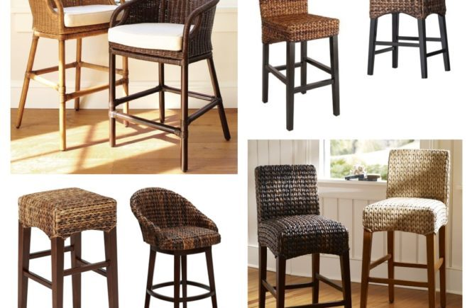 Outdoor Wicker Counter Height Bar Stools