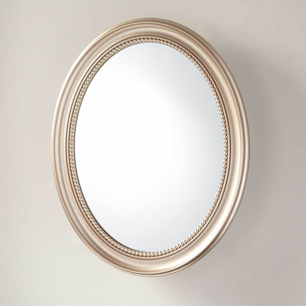 Oval Mirror Medicine Cabinet Surface Mount