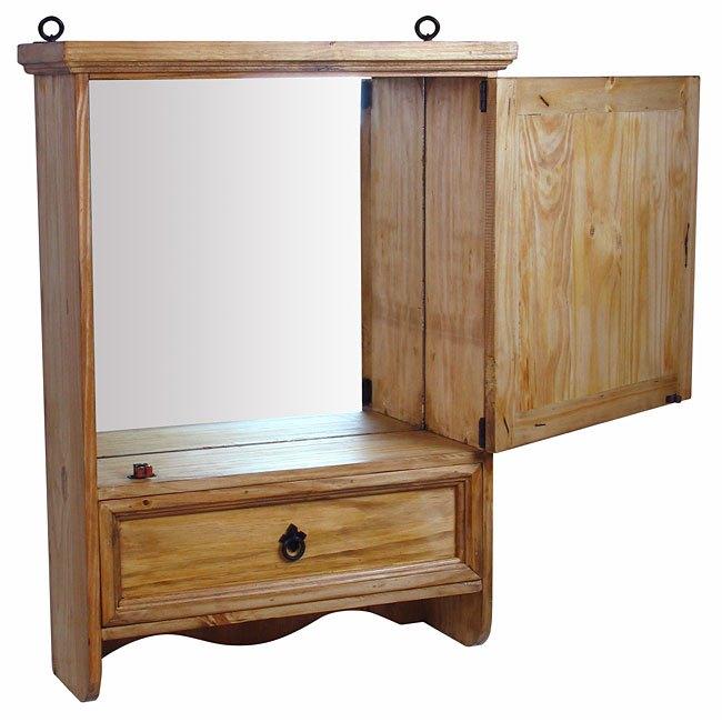 Pine Medicine Cabinet With Mirror