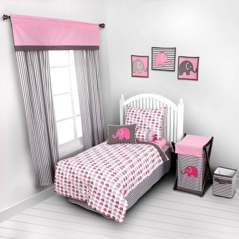Pink And Gray Toddler Bedding