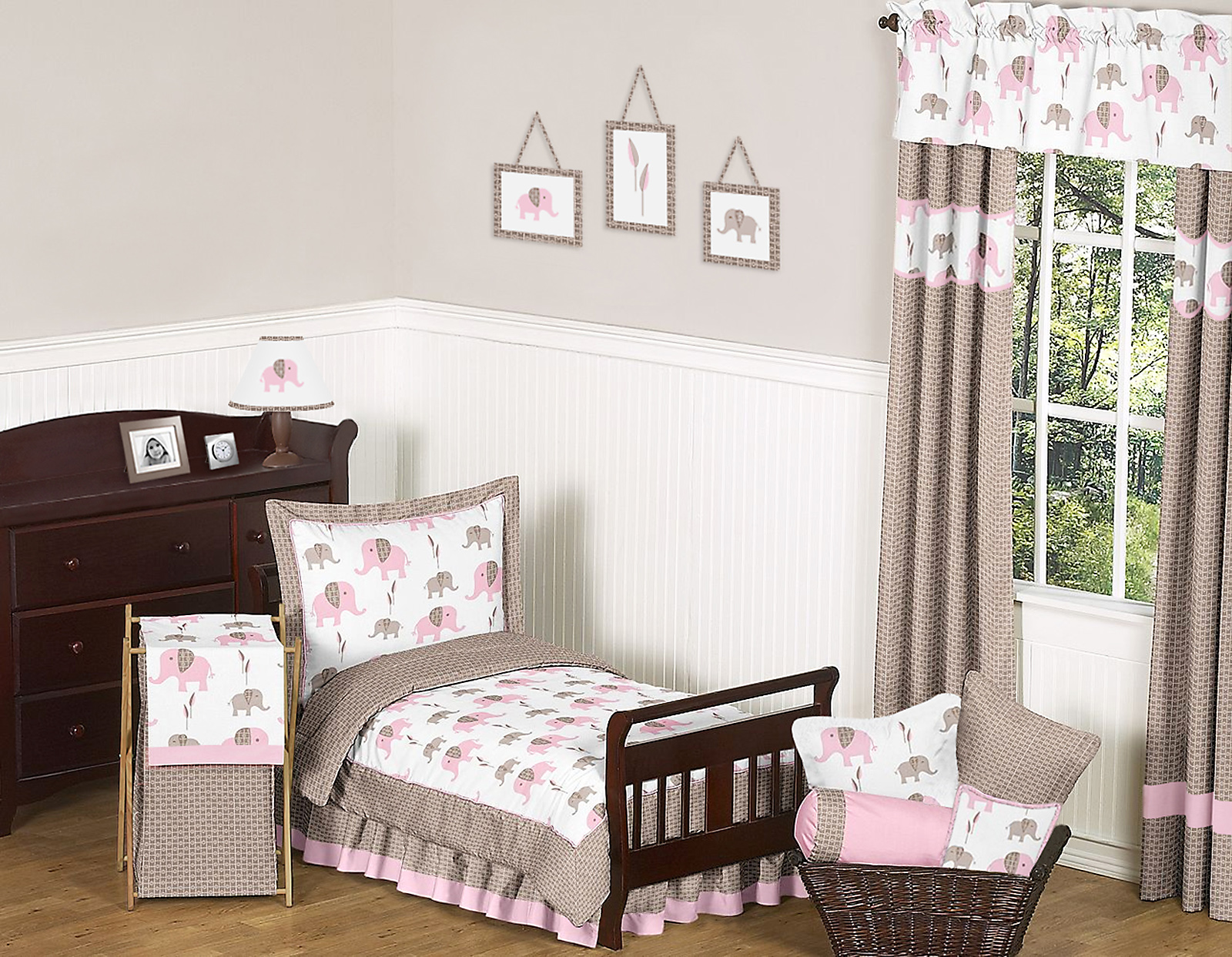 Pink Elephant Toddler Bedding