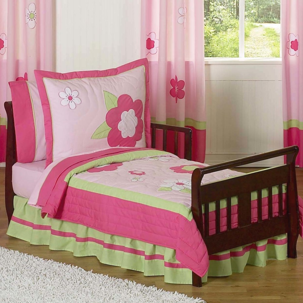 Pink Green Toddler Bedding