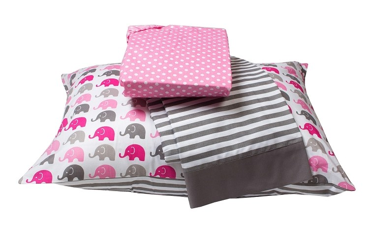 Pink Grey Toddler Bedding