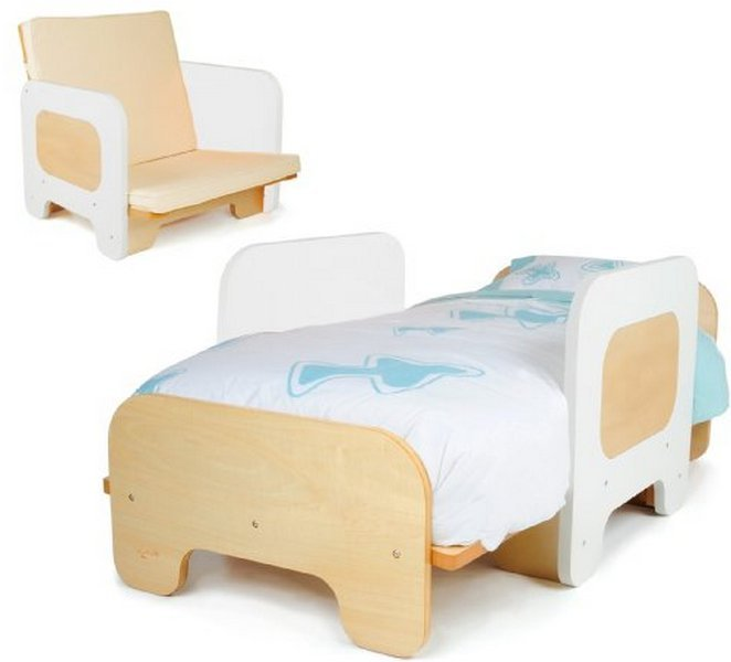 P'kolino Toddler Bed And Chair White