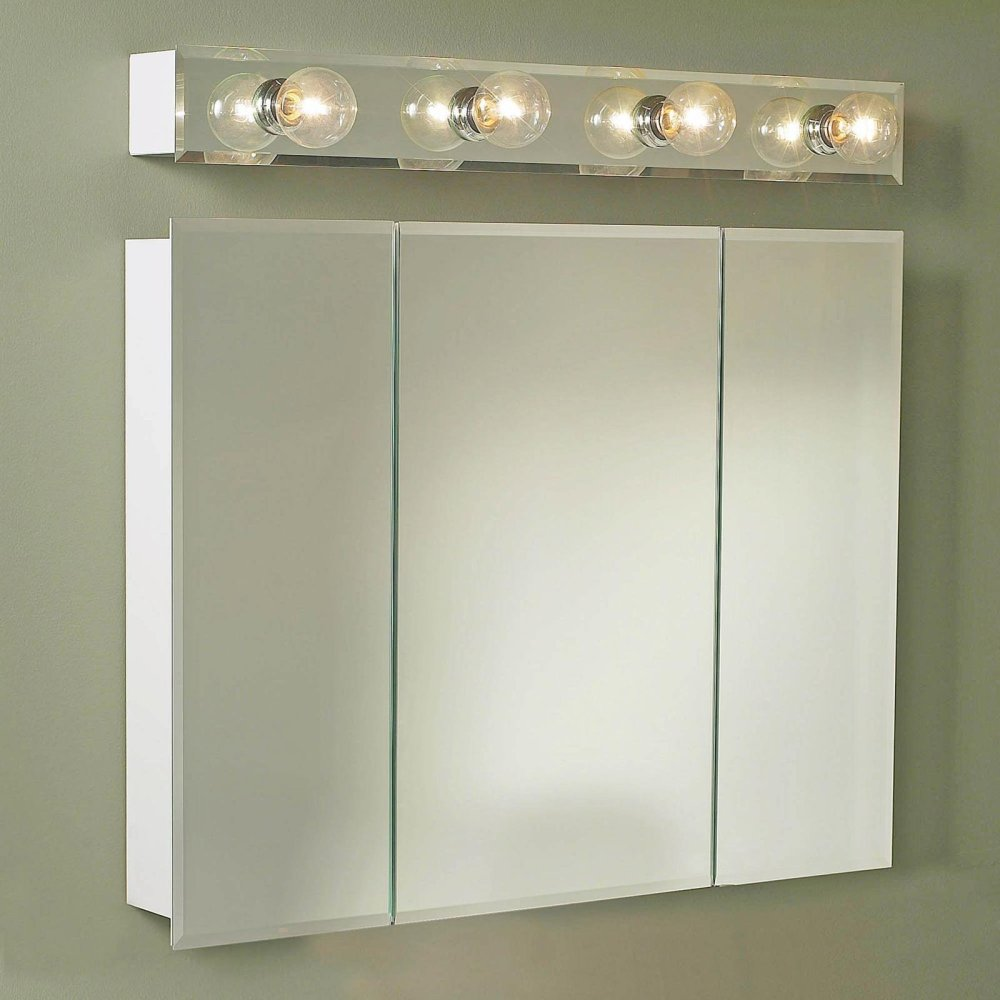 Recessed White Mirror Medicine Cabinet