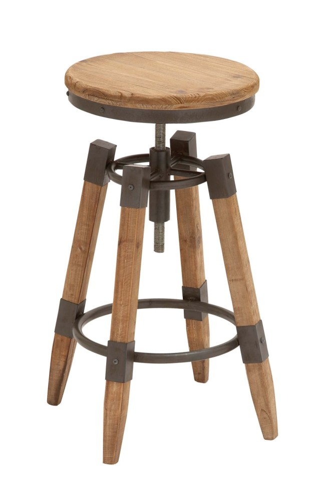Reclaimed Wood And Iron Bar Stools