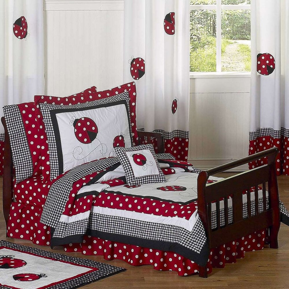 Red Black And White Toddler Bedding