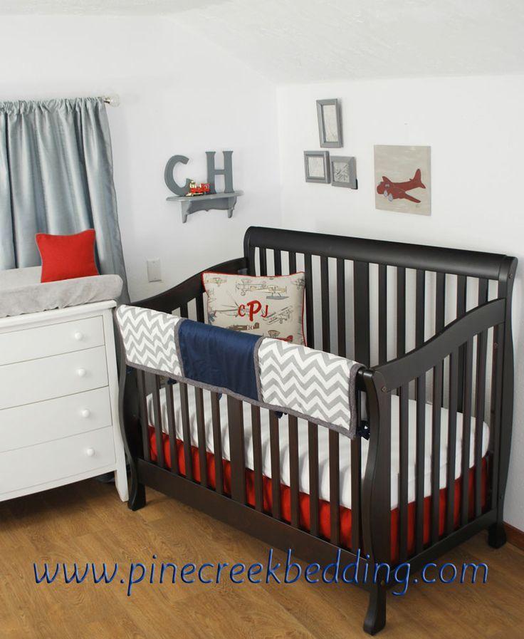 Red Chevron Toddler Bedding