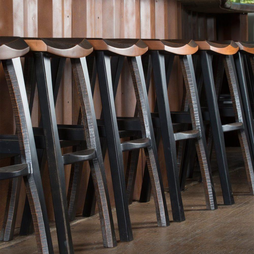 Red Saddle Style Bar Stools