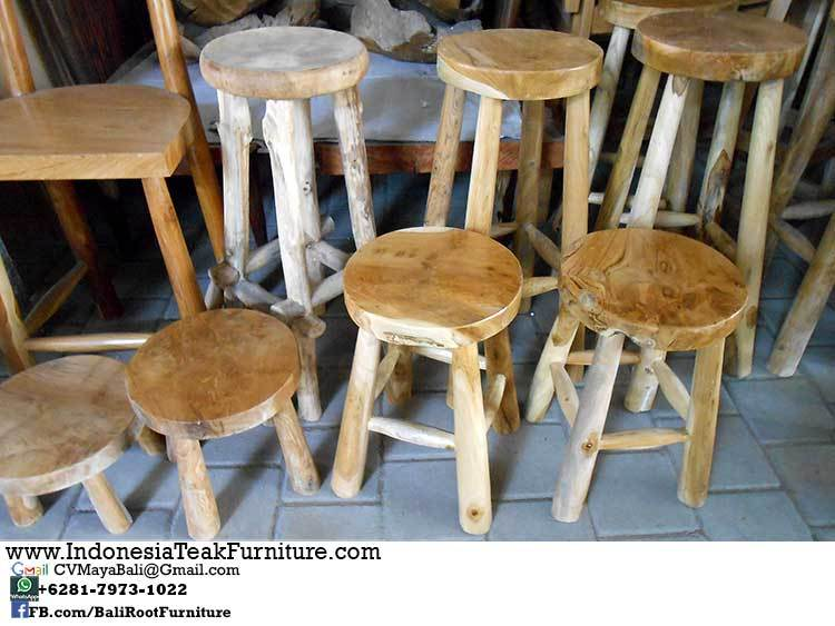 Round Top Wood Bar Stools