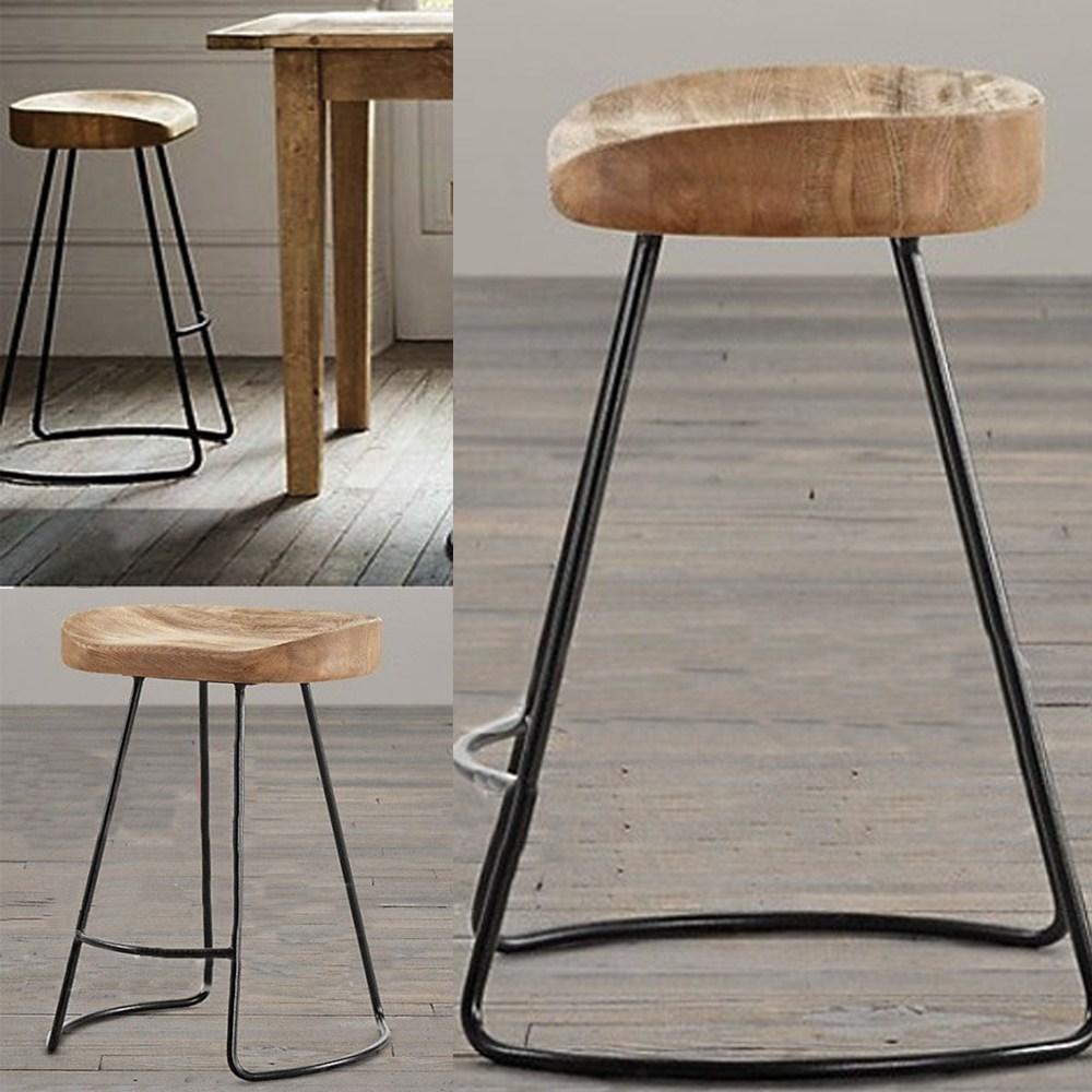 Rustic Metal And Wood Bar Stools