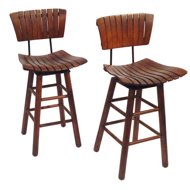 Rustic Swivel Bar Stools With Backs