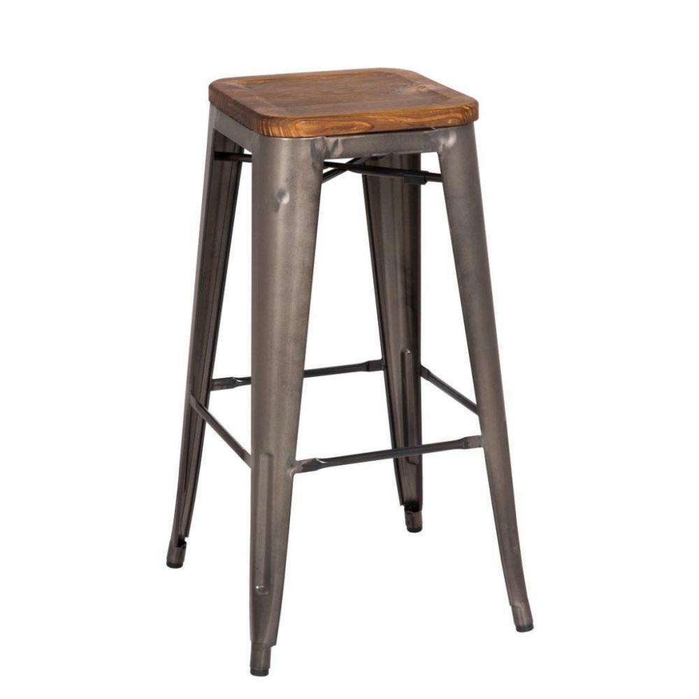 Rustic Wood And Metal Bar Stools
