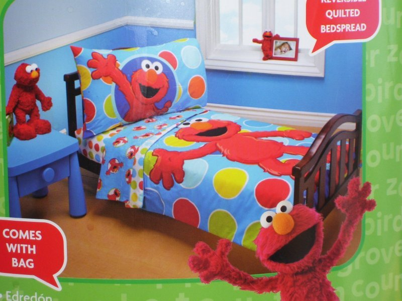 Sesame Street Elmo 4 Piece Toddler Bed Set