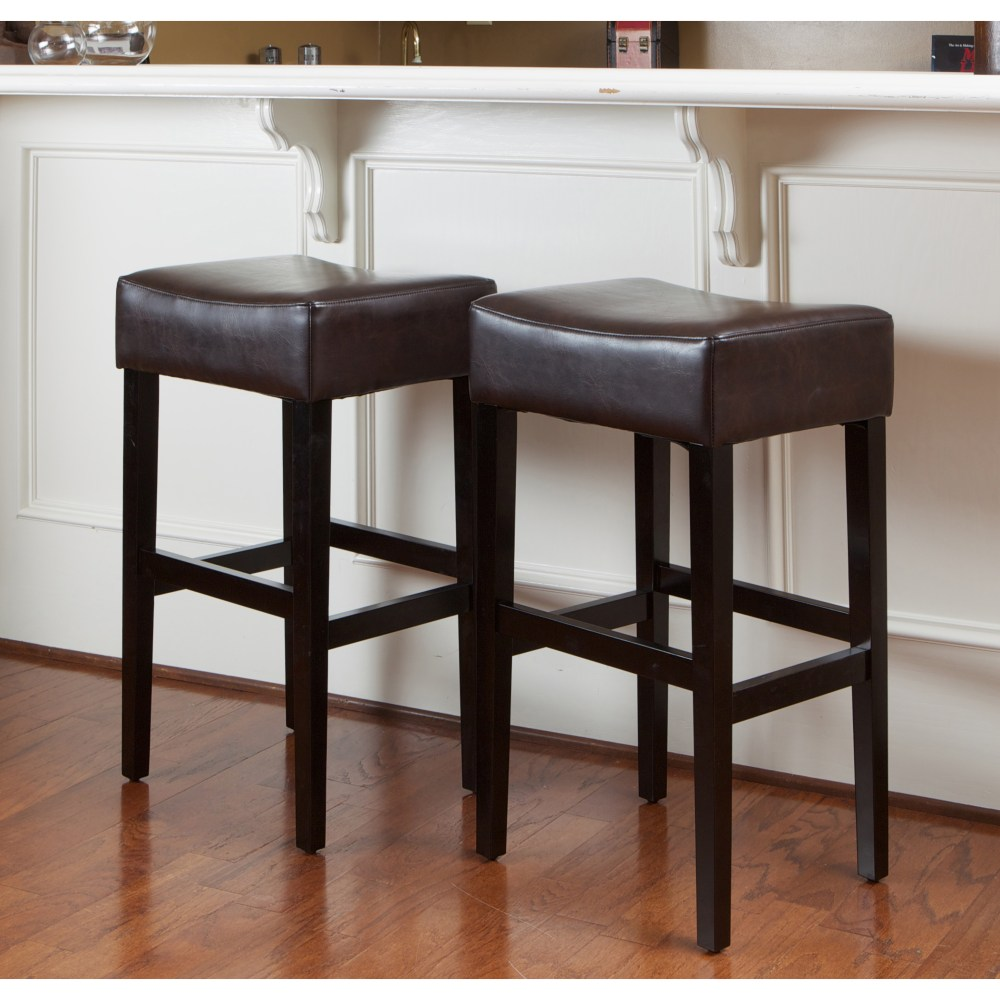 Set Of 2 Brown Bar Stools