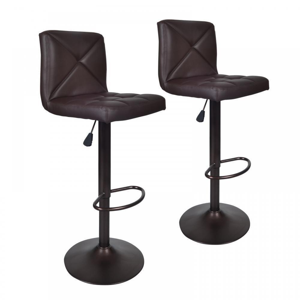 Set Of 2 Leather Bar Stools
