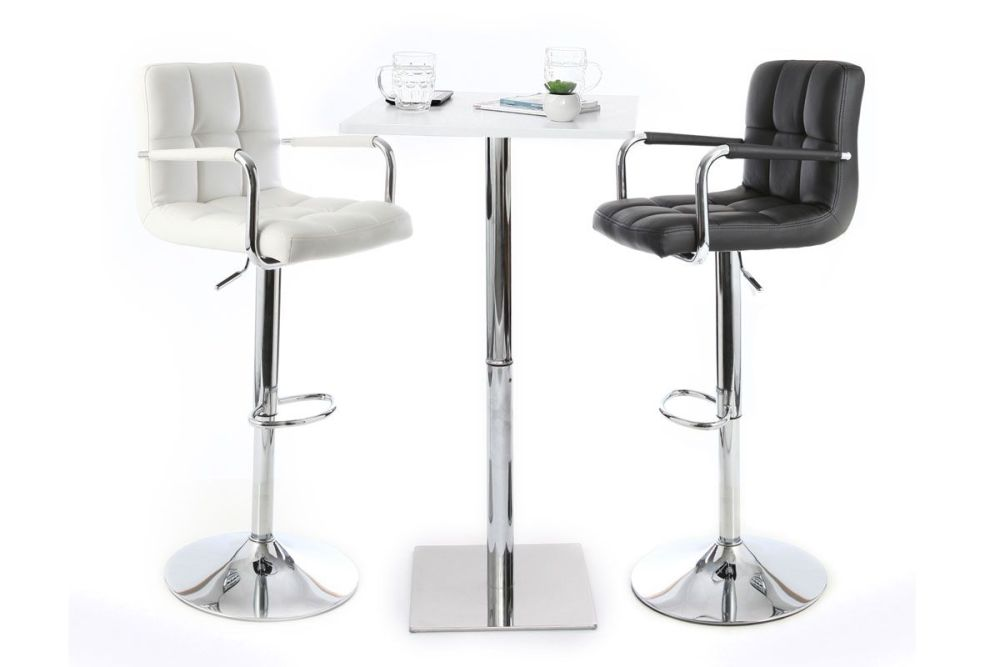 Set Of 2 White Bar Stools