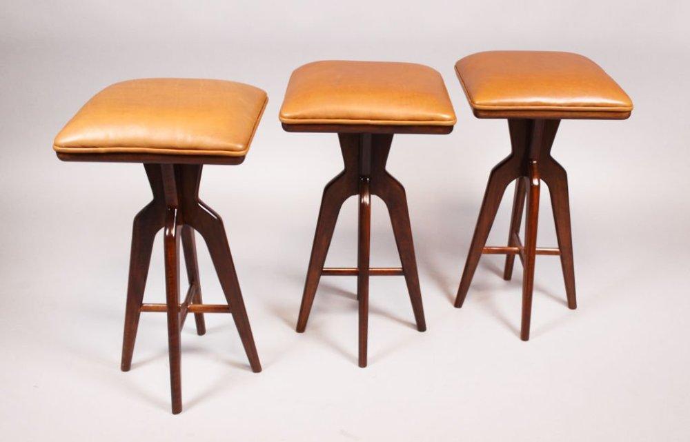 Set Of 3 Wood Bar Stools