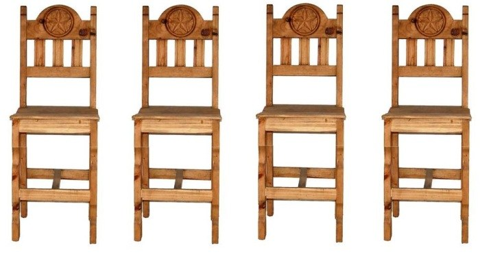 Set Of 3 Wooden Bar Stools