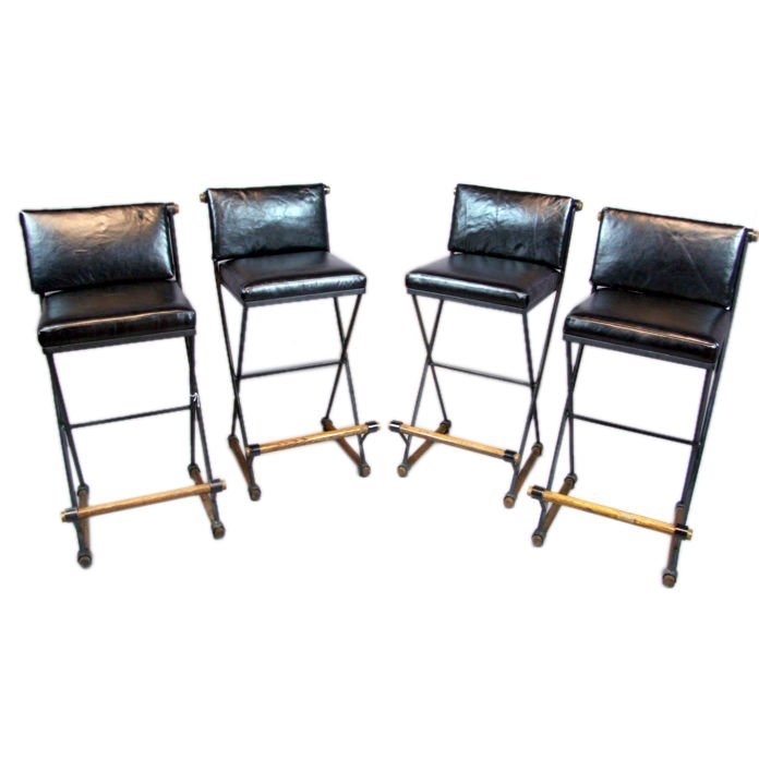 Set Of 4 Leather Bar Stools