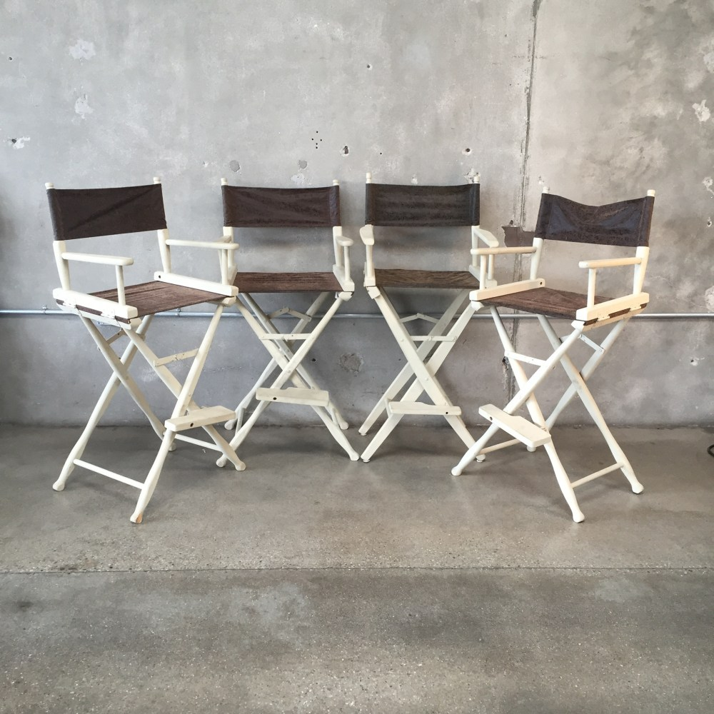 Set Of 4 White Bar Stools