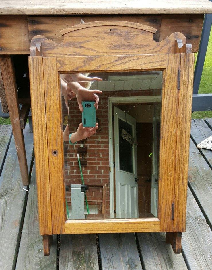 Solid Oak Medicine Cabinet Mirror