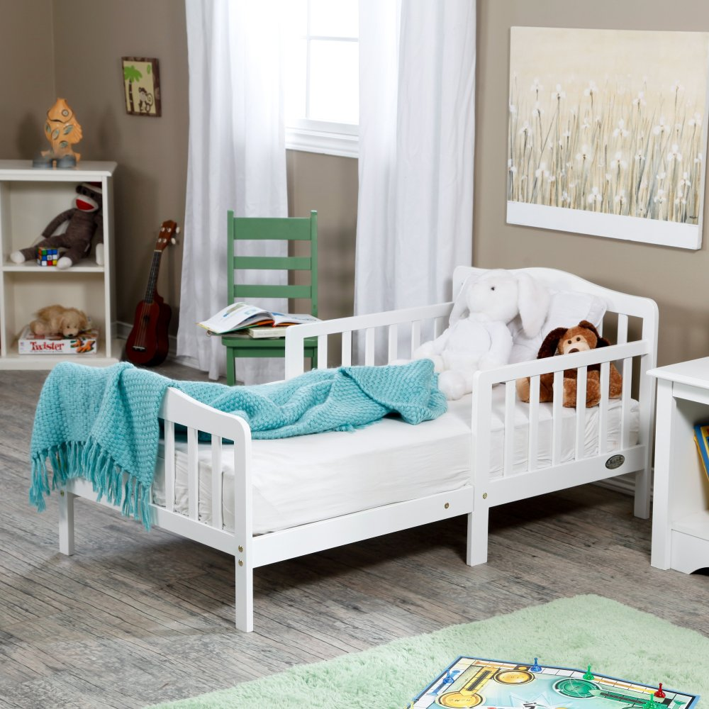 Solid Wood White Toddler Bed