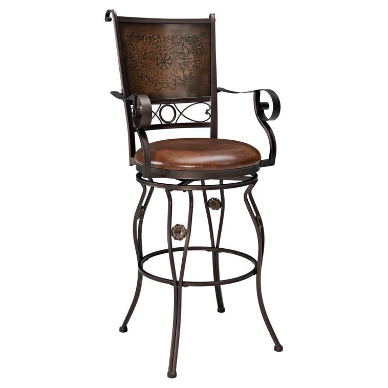 Swivel Counter Stool With Back And Arms