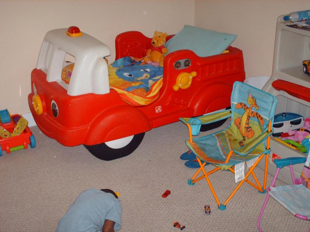 Toddler Fire Truck Bed Plastic