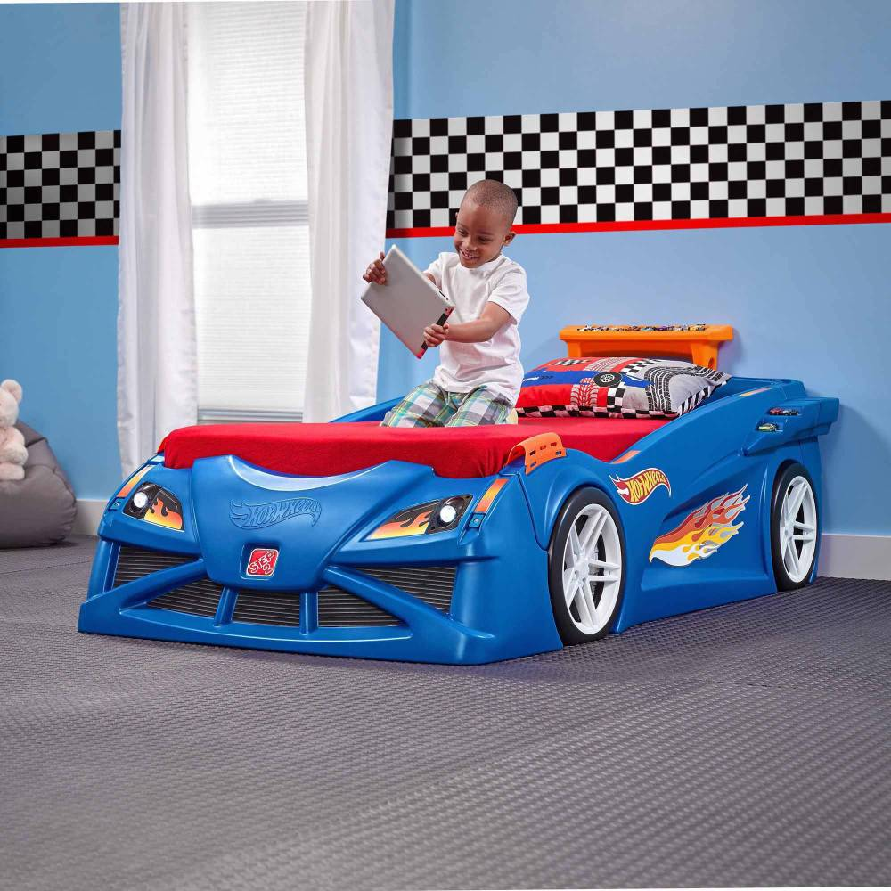 Toddler Race Car Bed Blue