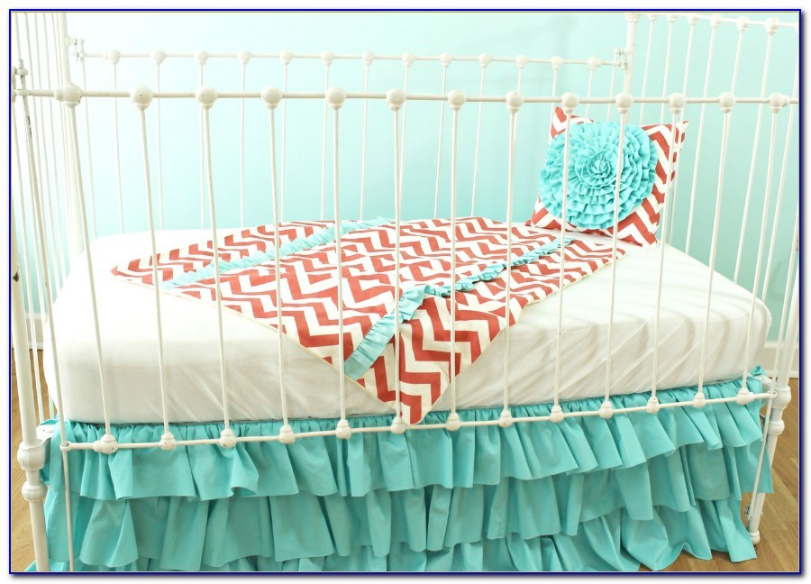 Turquoise And Coral Toddler Bedding