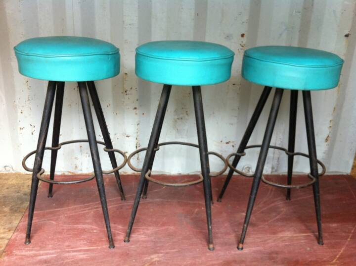 Turquoise Leather Bar Stools