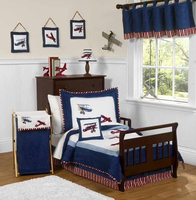 Vintage Aviator Airplane Toddler Bedding