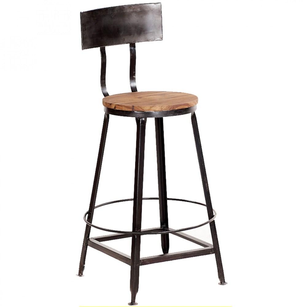 Vintage Metal Bar Stools With Back