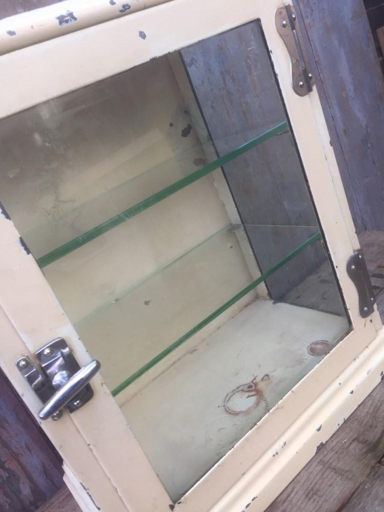 Vintage Metal Medical Display Cabinet