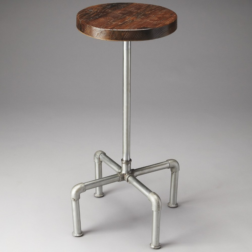 Vintage Wood And Metal Bar Stools