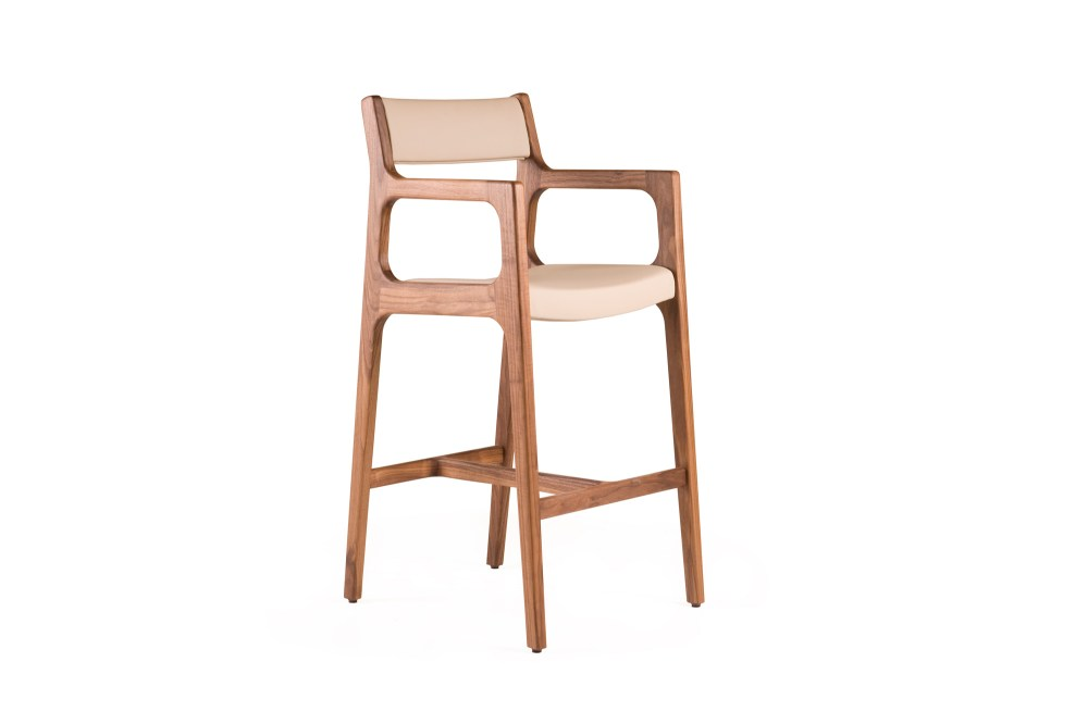 White Bar Stool With Backrest